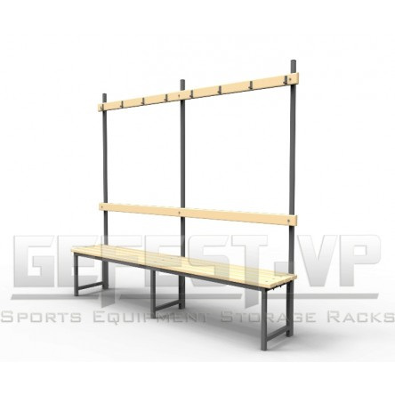 Скамейка для раздевалок с вешалкой