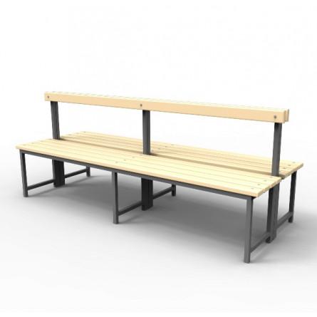 Скамейка для раздевалок со спинкой, двойная.
