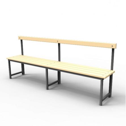 Скамейка для раздевалок со спинкой.