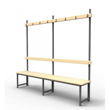 Скамейка для раздевалок с вешалкой.