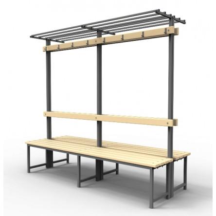 Скамейка для раздевалок с вешалкой и полкой, двойная.