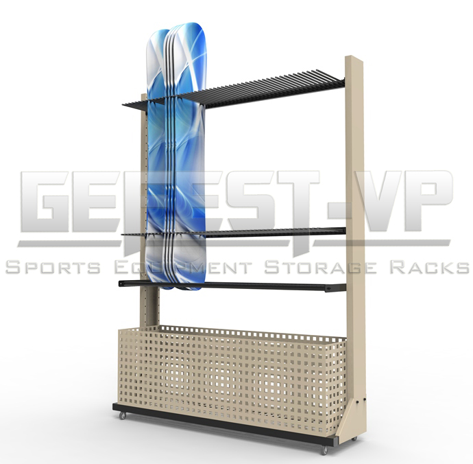 Стойка, стеллаж для хранения сноубордов Премиум с корзиной хранения креплений, односторонний.