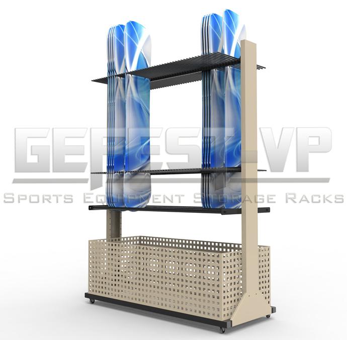 Стойка, стеллаж для хранения сноубордов Премиум с корзиной хранения креплений двухсторонний.