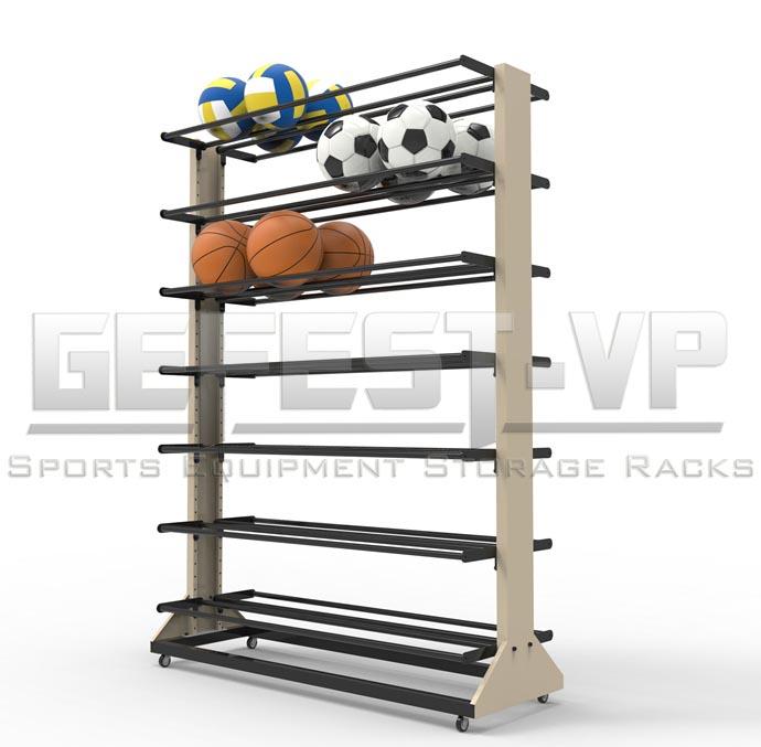 Стойка, стеллаж для хранения мячей Премиум двухсторонний, мобильный.