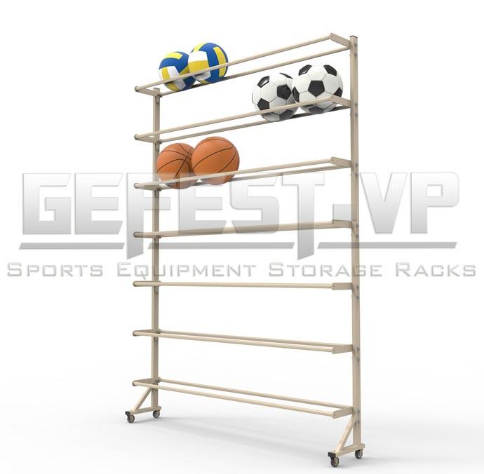 Стойка, стеллаж для хранения мячей Стандарт односторонний, мобильный.